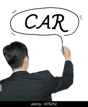 car written by businessman in black suit, hand writing on transparent board, photo - Stock Photo