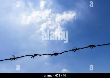 Silhouetted of a single barbed wire against an amazing bright sky. - Stock Photo