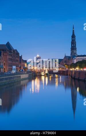St Katharinen Church and warehouses of Speicherstadt, Hamburg, Germany - Stock Photo