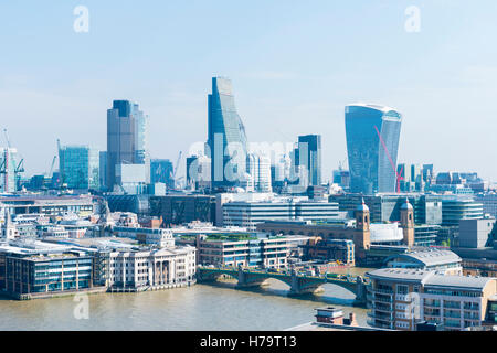 London City Southbank cityscape Walkie Talkie Leadenhall Street Willis Building Tower 42 Lloyds River Thames Southwark - Stock Photo