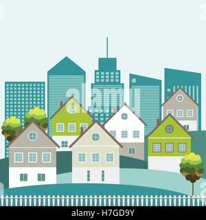 Colorful Houses For Sale / Rent. Real Estate. Energy Efficiency, Think Green Concept - Stock Photo