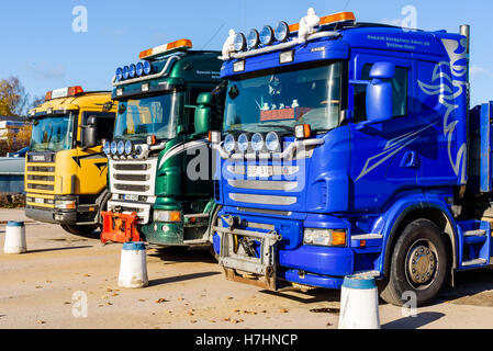 Brakne Hoby, Sweden - October 29, 2016: Documentary of industrial area. Three parked Scania trucks seen from the - Stock Photo