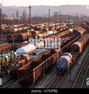 Freight train depot, Hagen, Ruhr District, North Rhine-Westphalia - Stock Photo