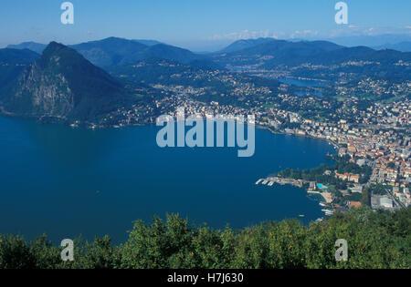 View from Monte Bre mountain over Lugano and Lake Lugano, panorama, Ticino, Switzerland, Europe - Stock Photo