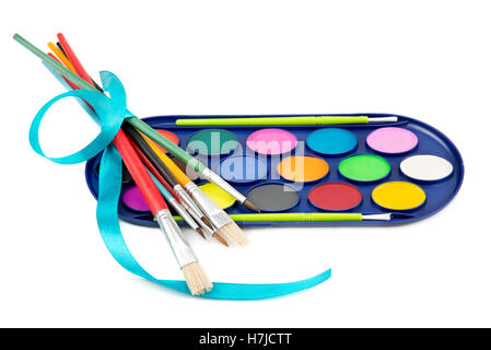 kit of watercolor paints and brushes for painting - Stock Photo