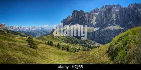 Panoramic view from Dantercepies on the Sella Group and Mountains of Alta Badia, Dolomites - Trentino-Alto Adige, - Stock Photo
