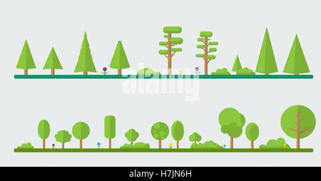 Set of different cartoon flora in flat design. Flowers, bushes, trees. - Stock Photo