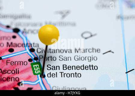 San Benedetto del Tronto pinned on a map of Italy - Stock Photo