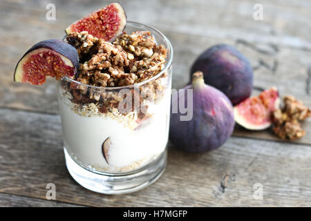 Greek Yogurt with Granola and Figs - Stock Photo