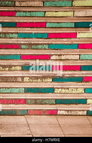 Colourful stairs leading up the Waterloo bridge in London - Stock Photo