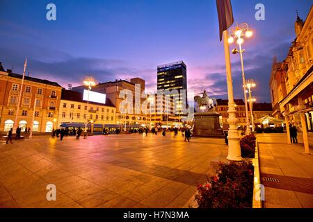 Zagreb main square evening view, capital of Croatia - Stock Photo