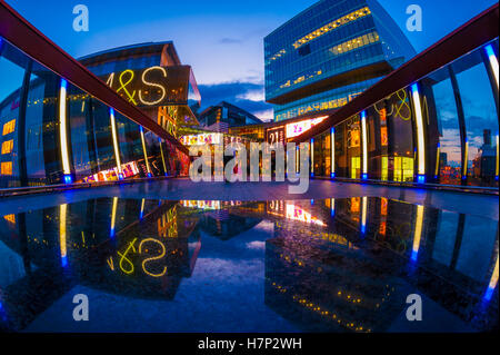 Looking towards Westfield stratford city shopping center from the rusty bridge. - Stock Photo