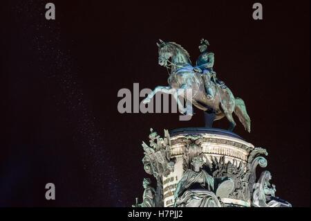 Monument to Nicholas I at snowy winter night. Saint Petersburg, Russia - Stock Photo