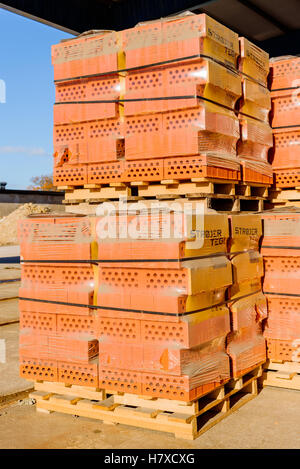 Brakne Hoby, Sweden - October 29, 2016: Documentary of industrial area. Plastic wrapped red bricks with holes ready - Stock Photo