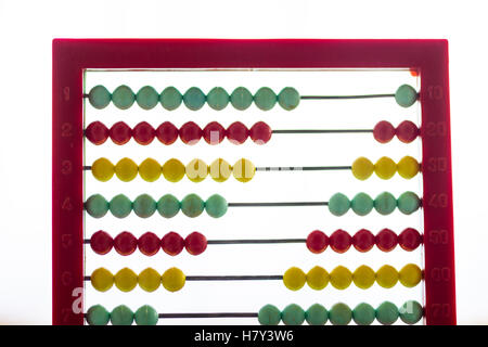 Toy abacus with rainbow colored beads on a white background - Stock Photo