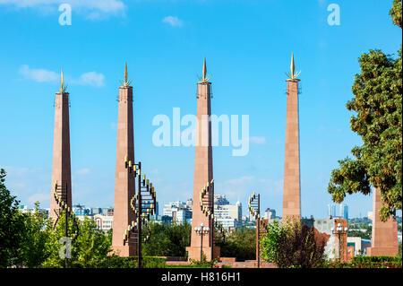 Granit obelisk and lamp post, Independence Park, Shymkent, South Region, Kazakhstan, Central Asia - Stock Photo