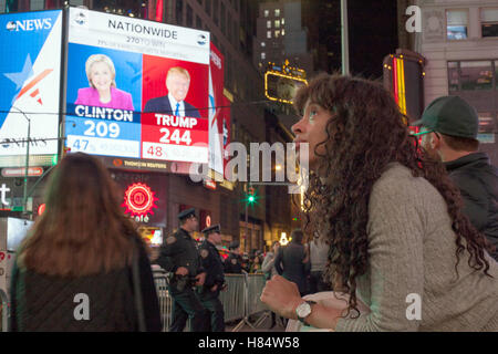 New York, USA. 08th Nov, 2016. People watch the results of the presidential election at Times Square in New York, - Stock Photo