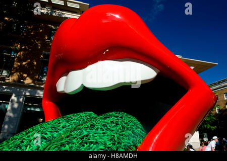 Lip display for The Rolling Stones Exhibitionism retrospective show at the Saatchi Gallery, King's Road, Chelsea, - Stock Photo