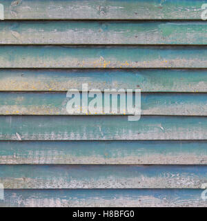 part of shed wall consisting of old horizontal wooden planks with faded green paint and yellow moss - Stock Photo