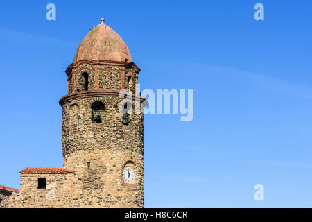 Collioure bell tower of the Church of Notre Dame des Anges, Collioure, Côte Vermeille, France - Stock Photo