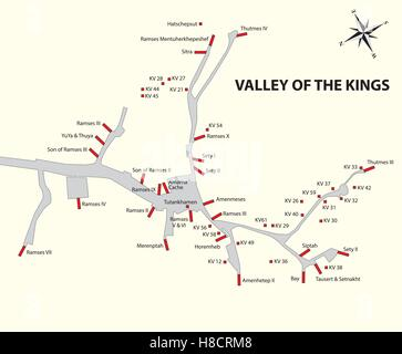 valley of the kings map, egypt - Stock Photo