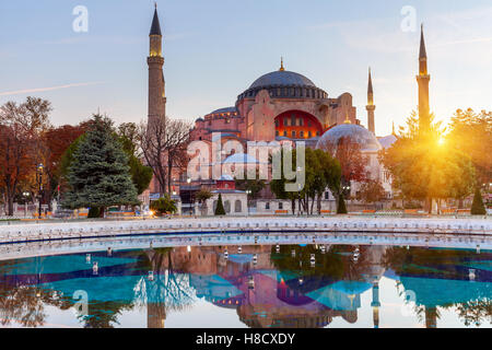 Hagia Sophia in Istanbul. The world famous monument of Byzantine architecture. View of the St. Sophia Cathedral - Stock Photo