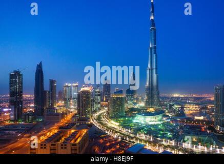 Burj Khalifa and Downtown Dubai at night, Dubai, United Arab Emirates, Middle East - Stock Photo