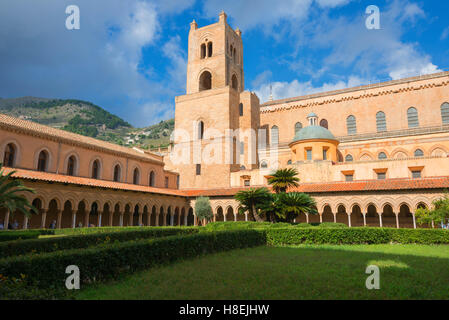 Cloister, Cathedral of Monreale, Monreale, Palermo, Sicily, Italy, Europe - Stock Photo