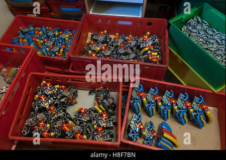 Tin Toys from the 1950s, various parts of motorcyclists in assembly boxes, tin toys, Emskirchen, Brunn, Upper Franconia, - Stock Photo