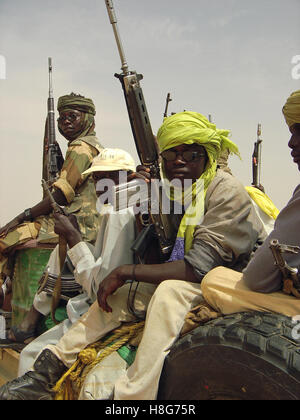 31st August 2005 Heavily armed SLA fighters near the village of Bir Meza, 50 km north-west of Kutum in northern - Stock Photo