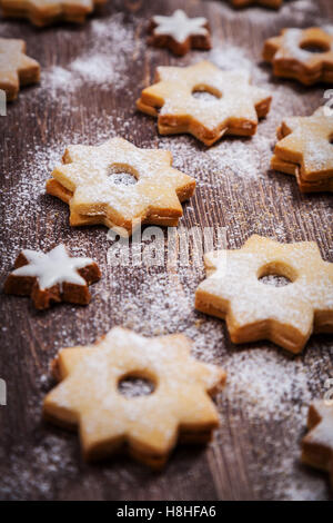 Homemade Christmas cookies in star shape - Stock Photo