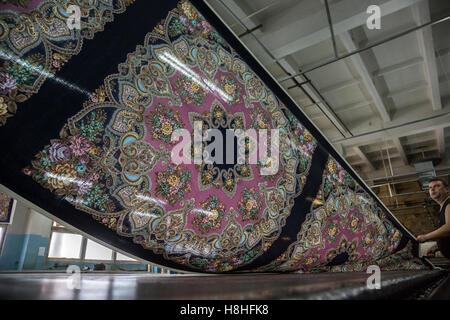 Traditional Russian shawl producing in the textile mill in Pavlovsky Posad in Moscow region, Russia - Stock Photo