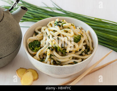 Japanese food. Udon noodles with broccoli and vegetables - Stock Photo