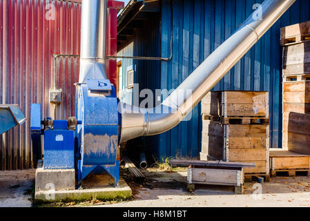 Brakne Hoby, Sweden - October 29, 2016: Documentary of local industrial area. Sawdust extractor outside a sawmill. - Stock Photo