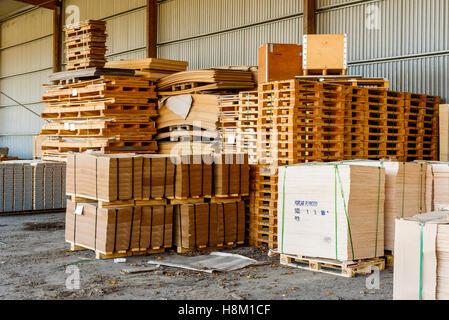 Brakne Hoby, Sweden - October 29, 2016: Documentary of local industrial area. Outdoor lumber storage area under - Stock Photo
