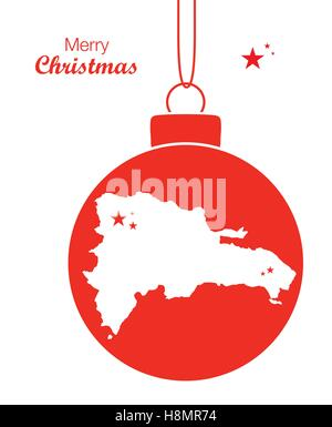 Merry Christmas Map Dominican Republic - Stock Photo