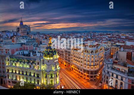 Madrid. Cityscape image of Madrid, Spain during sunset. - Stock Photo