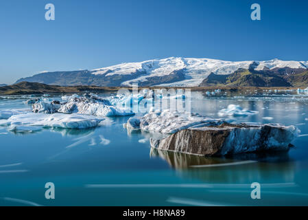 Floating icebergs in Jokulsarlon glacier lagoon, Iceland. - Stock Photo