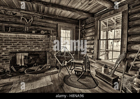 Interior of the historic McMullen-Coachman Log House in the Pinellas County Heritage Village. - Stock Photo