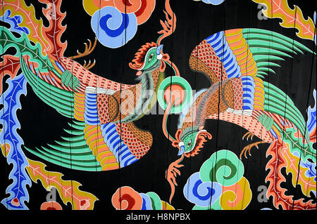 Seoul, South Korea-November 11, 2015; Beautiful paintings in the ceiling of the Gyeongbokgung palace. November 11, - Stock Photo