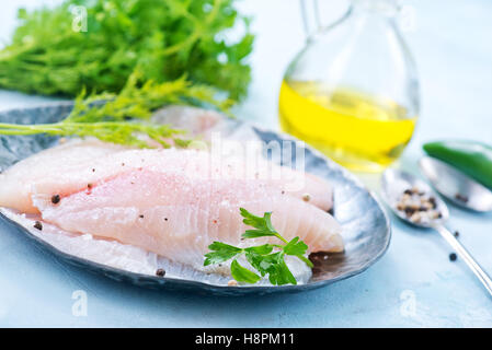 raw fish fillet on the metal plate - Stock Photo