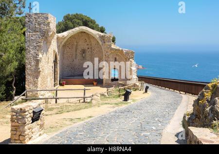 Old ruined church in fortress of Tossa de Mar. Costa Brava, Catalonia, Spain - Stock Photo