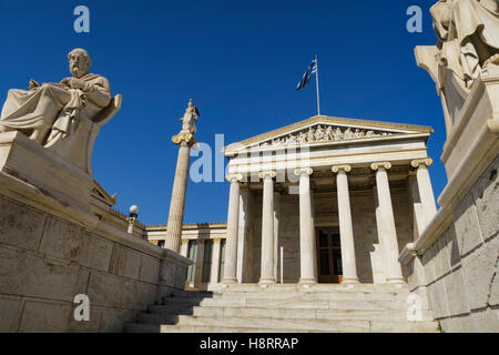 The Academy of Athens on Panepistimiou street in Athens, Greece - Stock Photo