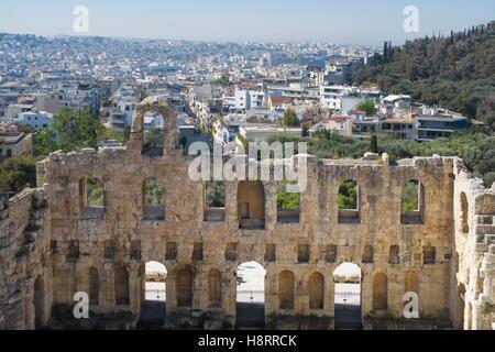 Odeon of Herodes Atticus, Acropolis, Athens, Greece - Stock Photo