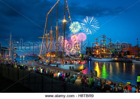 Fireworks display at the Tall Ships event, Belfast, Northern Ireland 2015 - Stock Photo