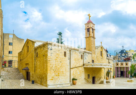 The church was built on the place where archangel St. Gabriel made the announcement to Virgin Mary, Nazareth, Israel. - Stock Photo