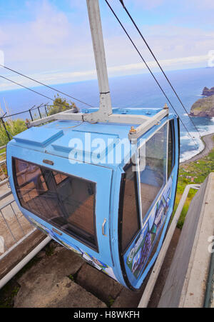 Portugal, Madeira, Santana, Cable car to the Rocha do Navio Reserve. - Stock Photo
