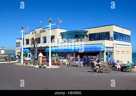 View of the Pier Bandstand along the Esplanade with a pavement cafe in the foreground, Weymouth, Dorset, England, - Stock Photo