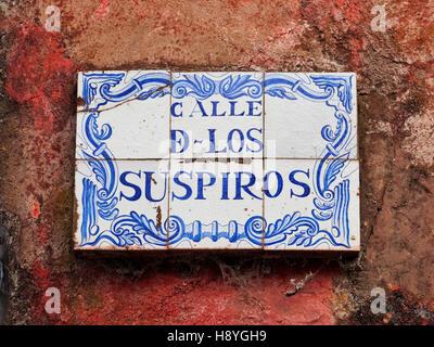 Uruguay, Colonia Department, Colonia del Sacramento, Azulejos Sign on the Calle de los Suspiros. - Stock Photo