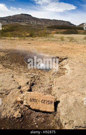 The Little Geysir at Strokkur in Iceland. - Stock Photo